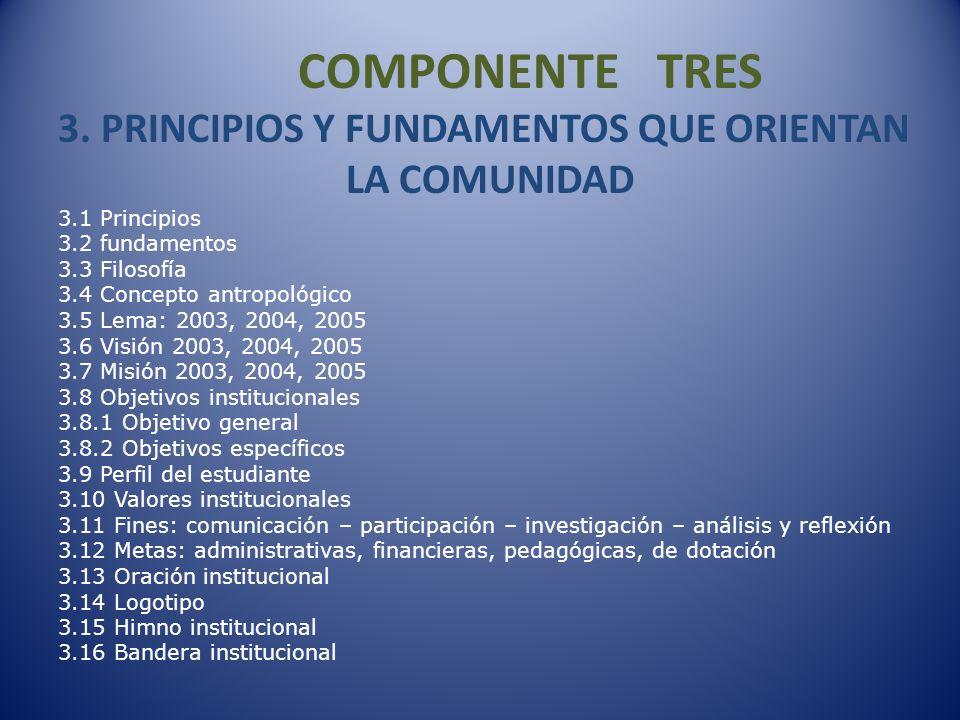 COMPONENTE TRES 3. PRINCIPIOS Y FUNDAMENTOS QUE ORIENTAN