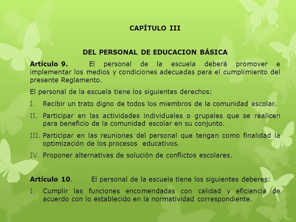 DEL PERSONAL DE EDUCACION BÁSICA