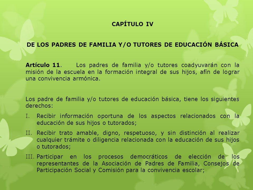 DE LOS PADRES DE FAMILIA Y/O TUTORES DE EDUCACIÓN BÁSICA