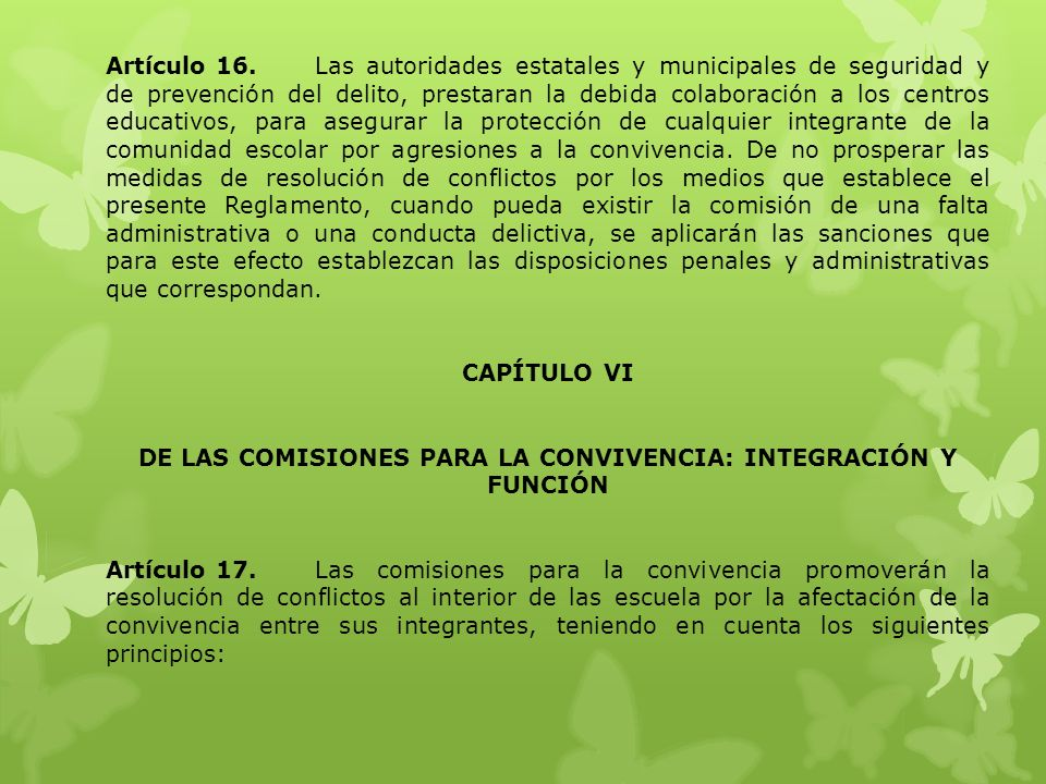 DE LAS COMISIONES PARA LA CONVIVENCIA: INTEGRACIÓN Y FUNCIÓN