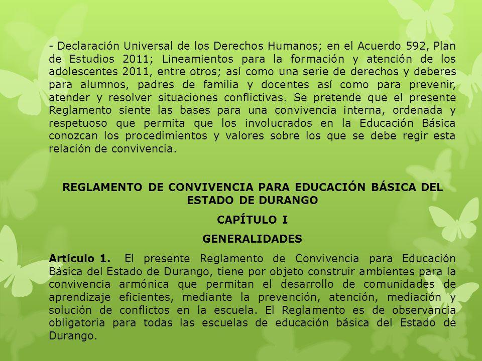 REGLAMENTO DE CONVIVENCIA PARA EDUCACIÓN BÁSICA DEL ESTADO DE DURANGO