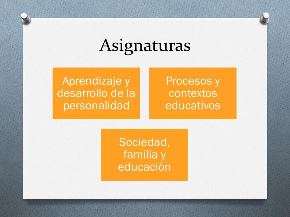Asignaturas Aprendizaje y desarrollo de la personalidad