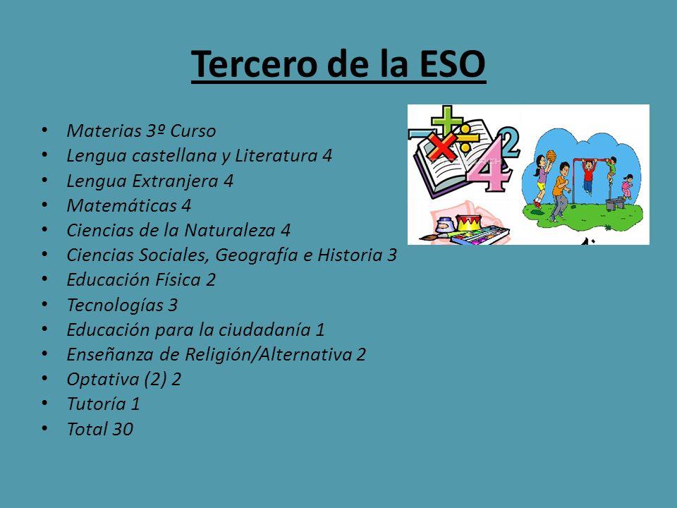Tercero de la ESO Materias 3º Curso Lengua castellana y Literatura 4