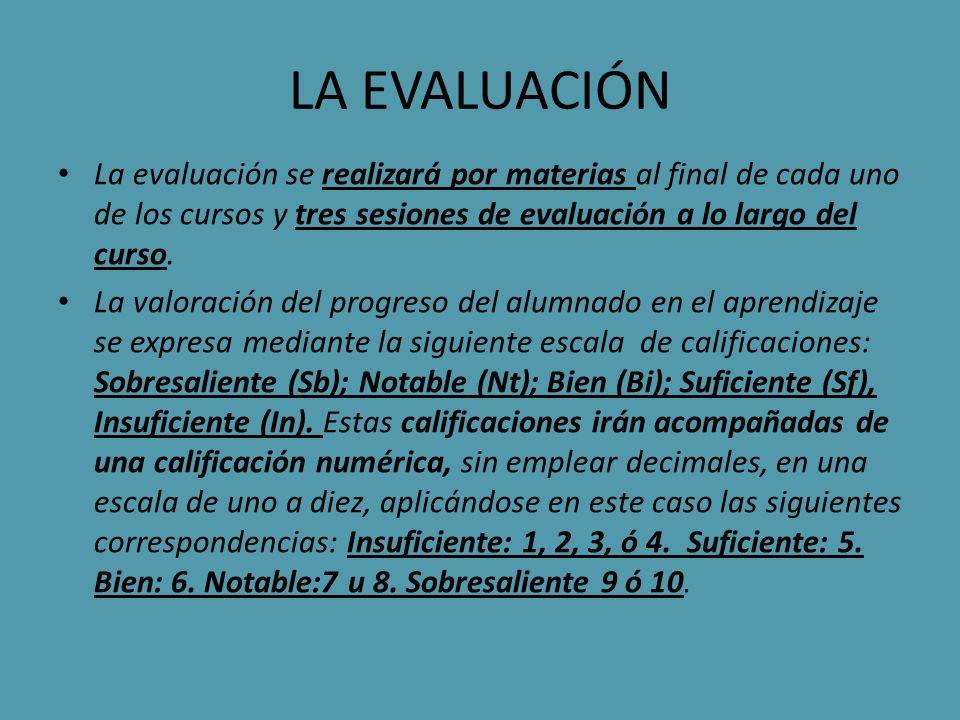 LA EVALUACIÓN La evaluación se realizará por materias al final de cada uno de los cursos y tres sesiones de evaluación a lo largo del curso.