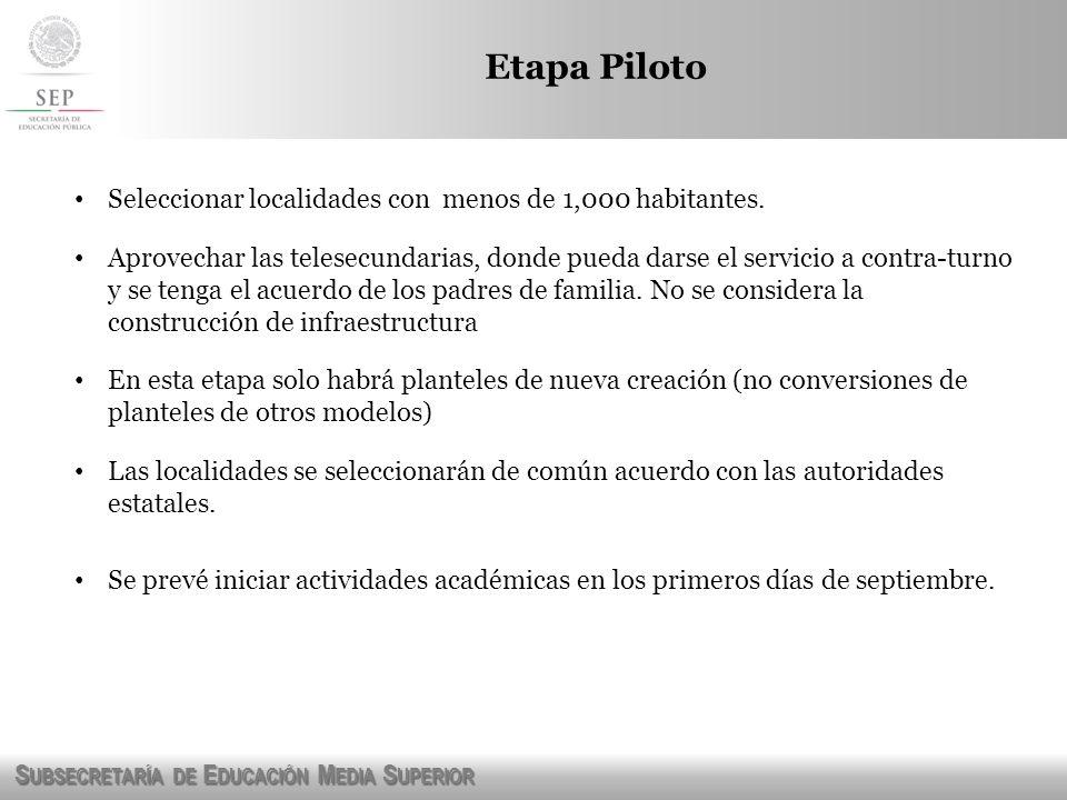 Etapa Piloto Seleccionar localidades con menos de 1,000 habitantes.
