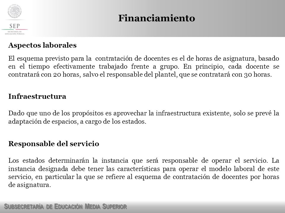 Financiamiento Aspectos laborales Infraestructura