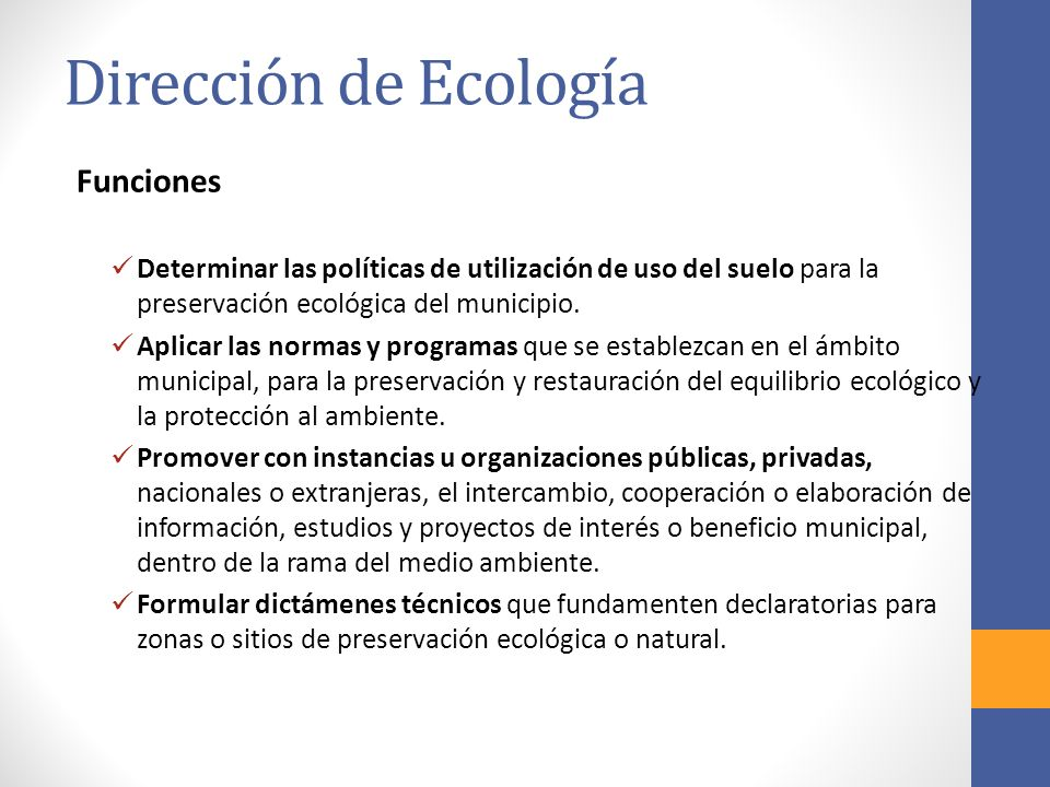 Dirección de Ecología Funciones