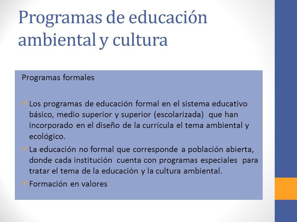 Programas de educación ambiental y cultura