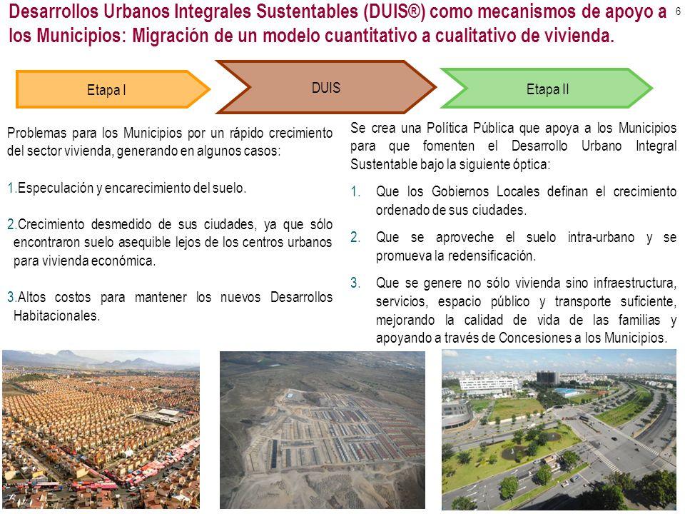 Desarrollos Urbanos Integrales Sustentables (DUIS®) como mecanismos de apoyo a los Municipios: Migración de un modelo cuantitativo a cualitativo de vivienda.
