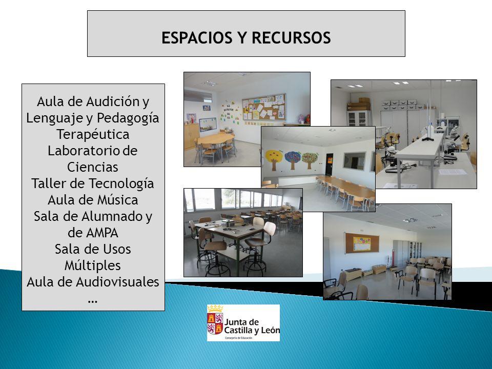ESPACIOS Y RECURSOS Aula de Audición y Lenguaje y Pedagogía Terapéutica. Laboratorio de Ciencias. Taller de Tecnología.