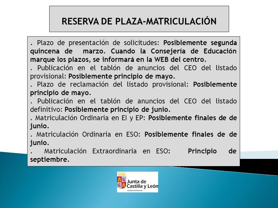 RESERVA DE PLAZA-MATRICULACIÓN