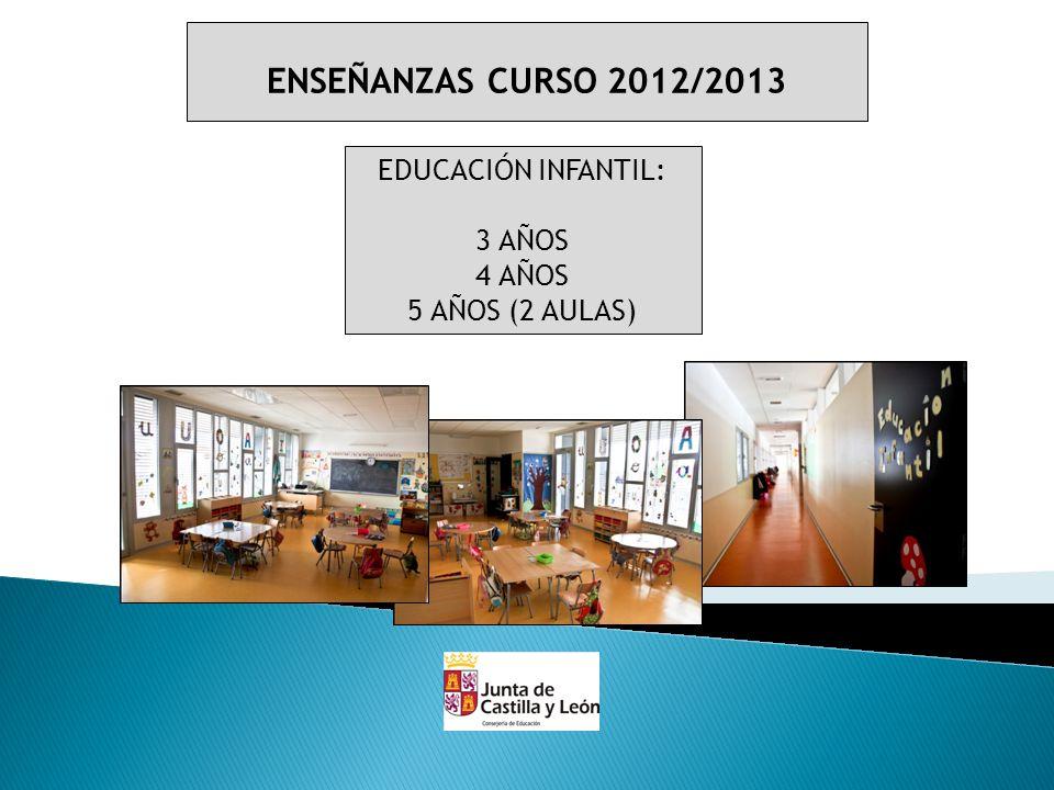 ENSEÑANZAS CURSO 2012/2013 EDUCACIÓN INFANTIL: 3 AÑOS 4 AÑOS