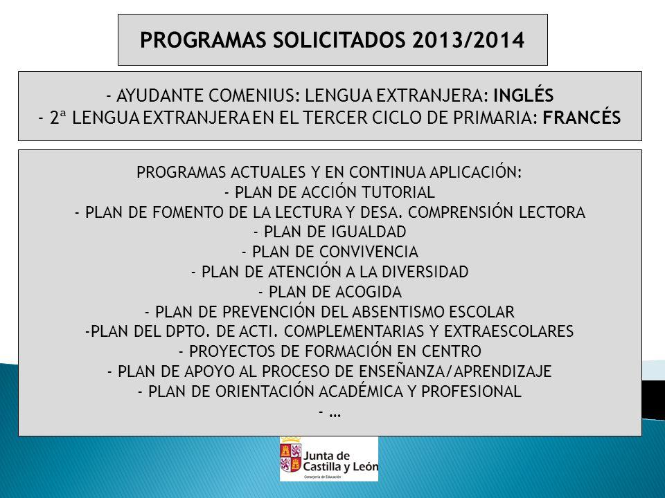 PROGRAMAS SOLICITADOS 2013/2014