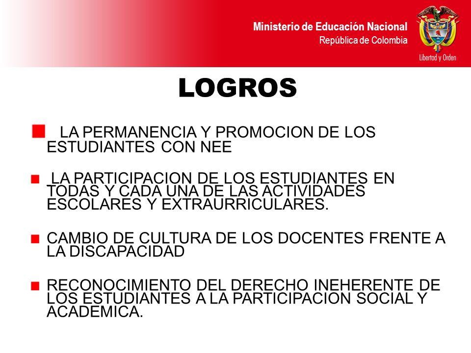 LOGROS LA PERMANENCIA Y PROMOCION DE LOS ESTUDIANTES CON NEE