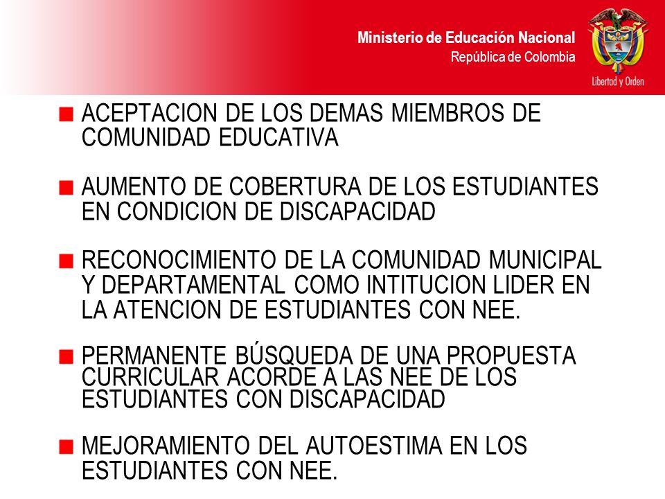 ACEPTACION DE LOS DEMAS MIEMBROS DE COMUNIDAD EDUCATIVA