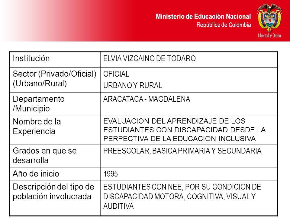 ELVIA VIZCAINO DE TODARO Sector (Privado/Oficial) (Urbano/Rural)