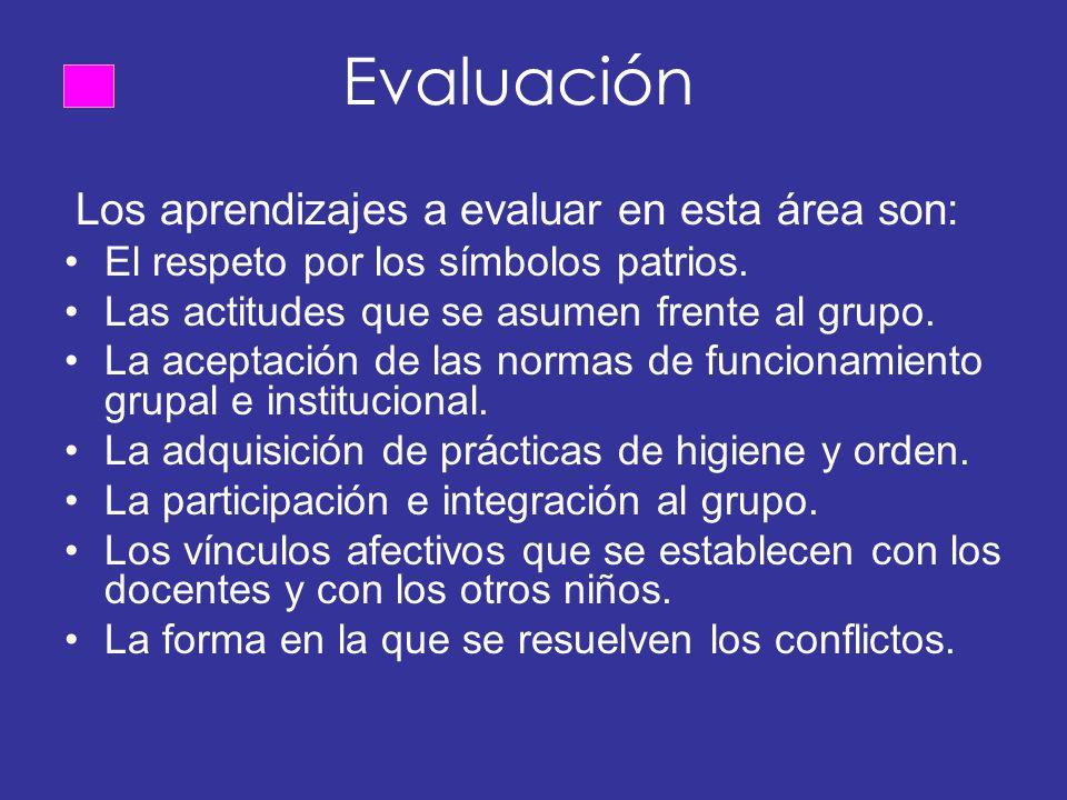 Evaluación Los aprendizajes a evaluar en esta área son: