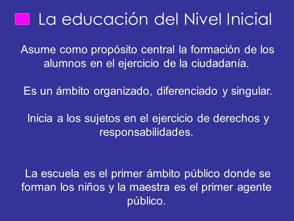La educación del Nivel Inicial Asume como propósito central la formación de los alumnos en el ejercicio de la ciudadanía.