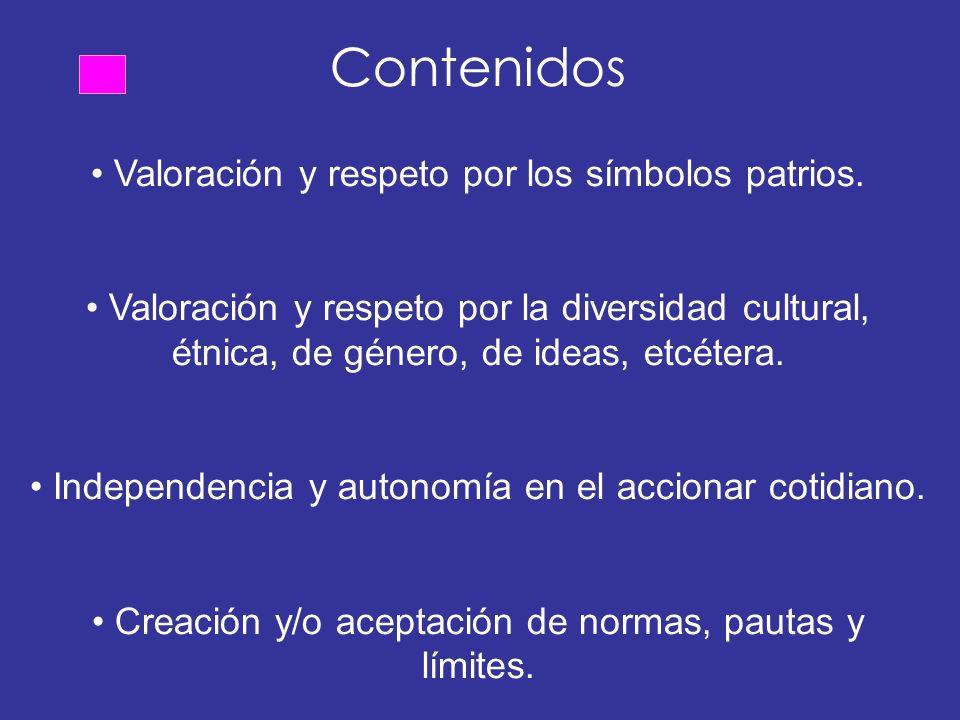 Contenidos • Valoración y respeto por los símbolos patrios