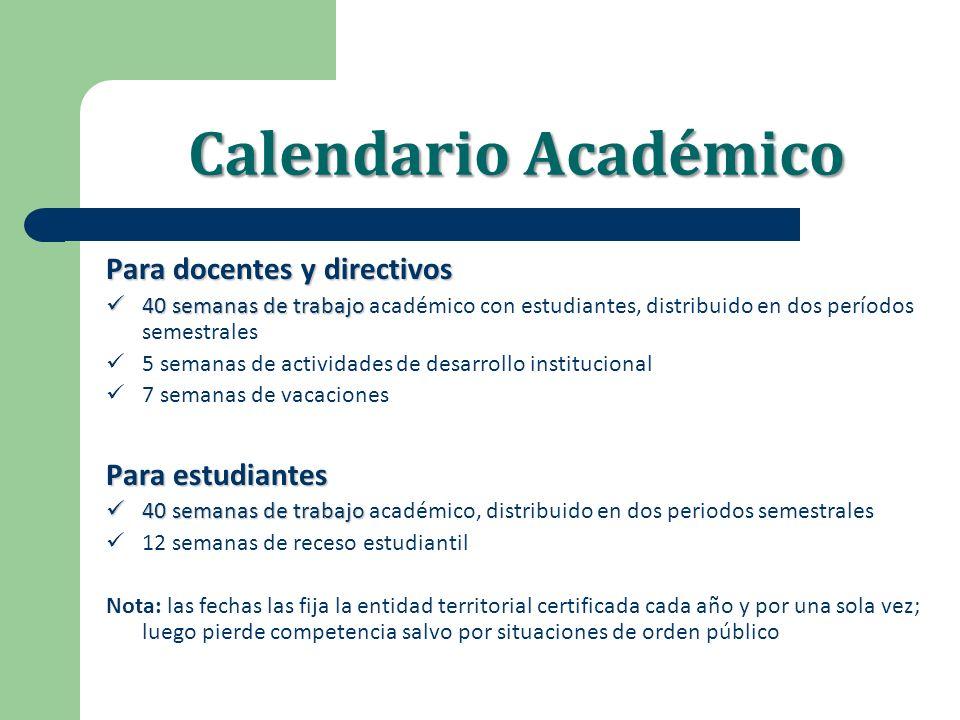 Calendario Académico Para docentes y directivos Para estudiantes