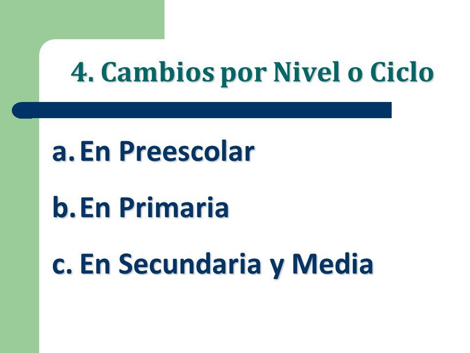 4. Cambios por Nivel o Ciclo