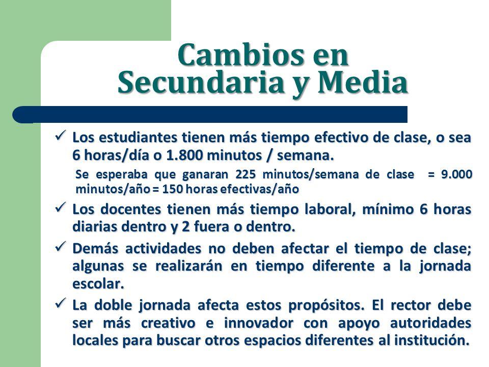 Cambios en Secundaria y Media