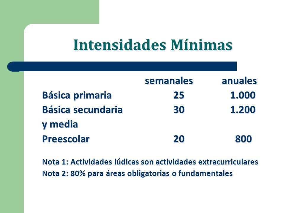 Intensidades Mínimas Básica primaria 25 1.000