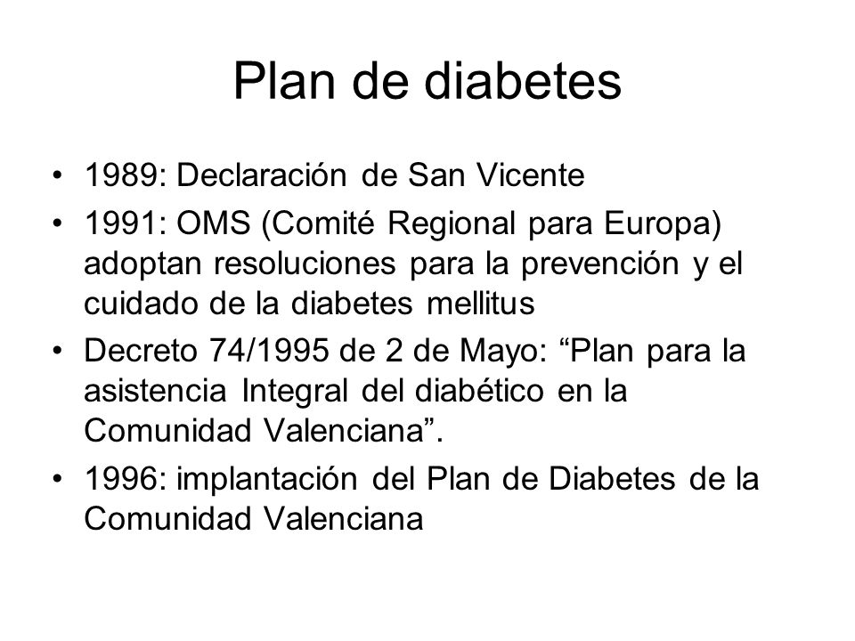 Plan de diabetes 1989: Declaración de San Vicente