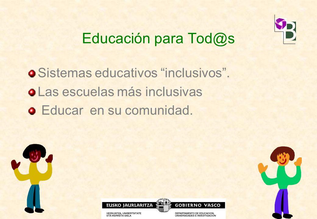 Educación para Tod@s Sistemas educativos inclusivos .