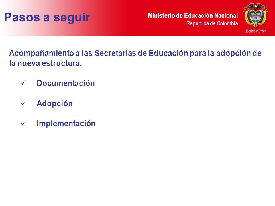 Pasos a seguir Acompañamiento a las Secretarias de Educación para la adopción de. la nueva estructura.