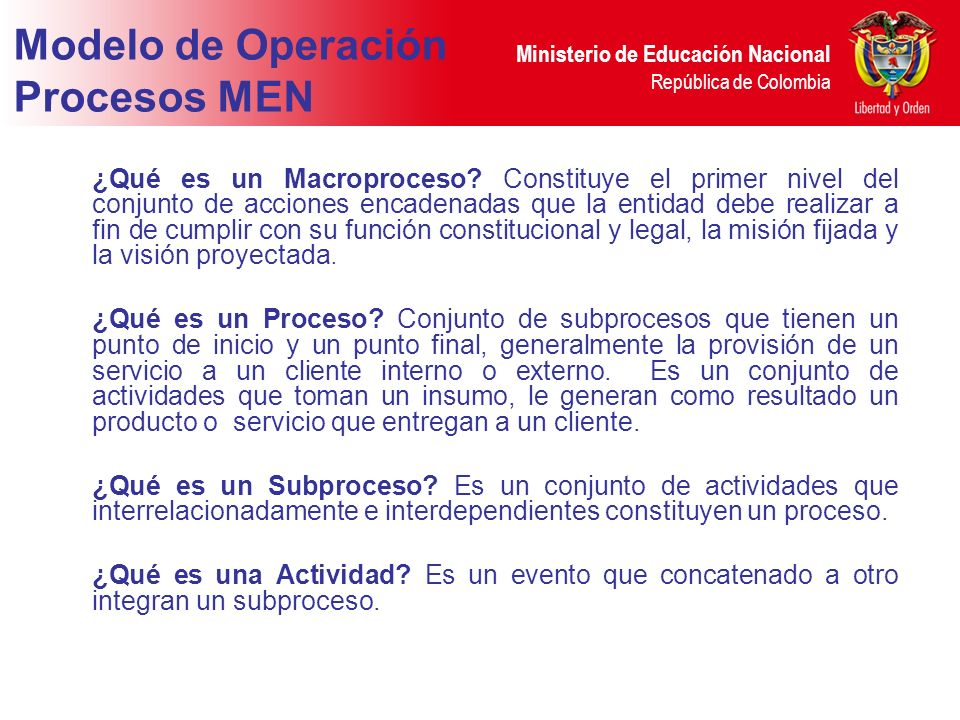 Modelo de Operación Procesos MEN