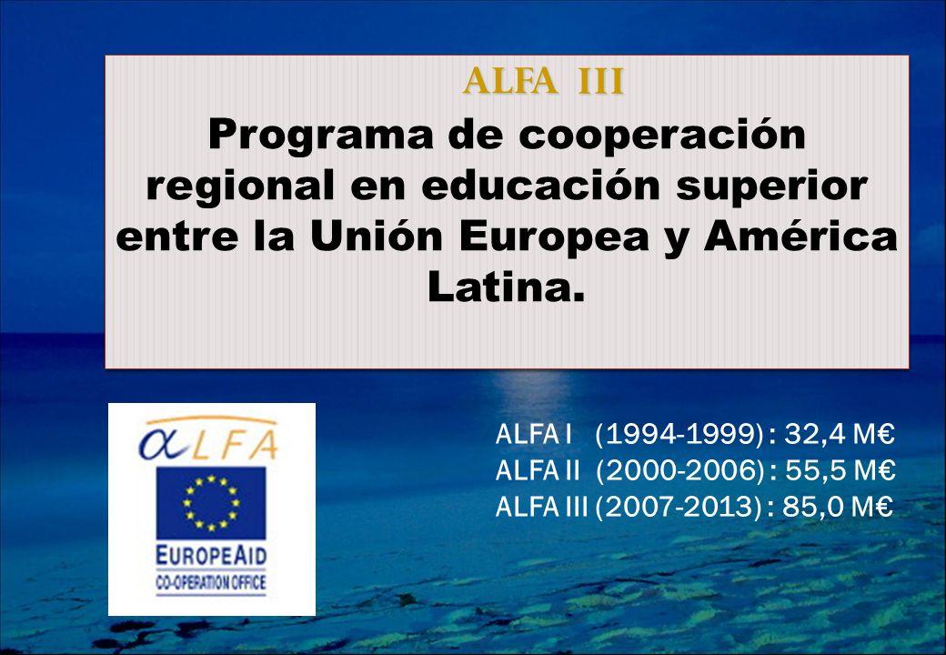 ALFA Programa de cooperación regional en educación superior entre la Unión Europea y América Latina.