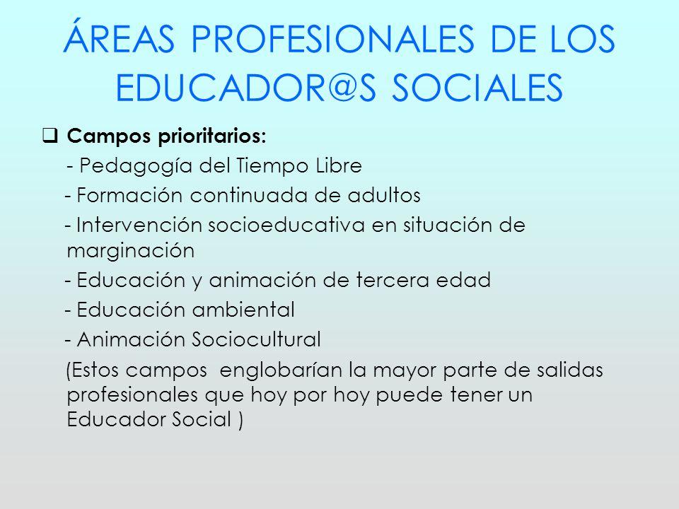 ÁREAS PROFESIONALES DE LOS EDUCADOR@S SOCIALES