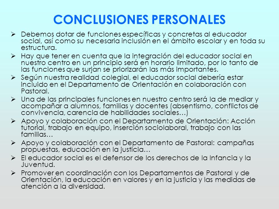 CONCLUSIONES PERSONALES