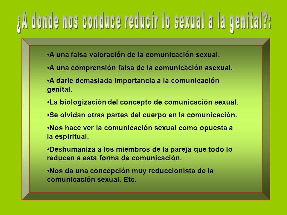 ¿A donde nos conduce reducir lo sexual a la genital :