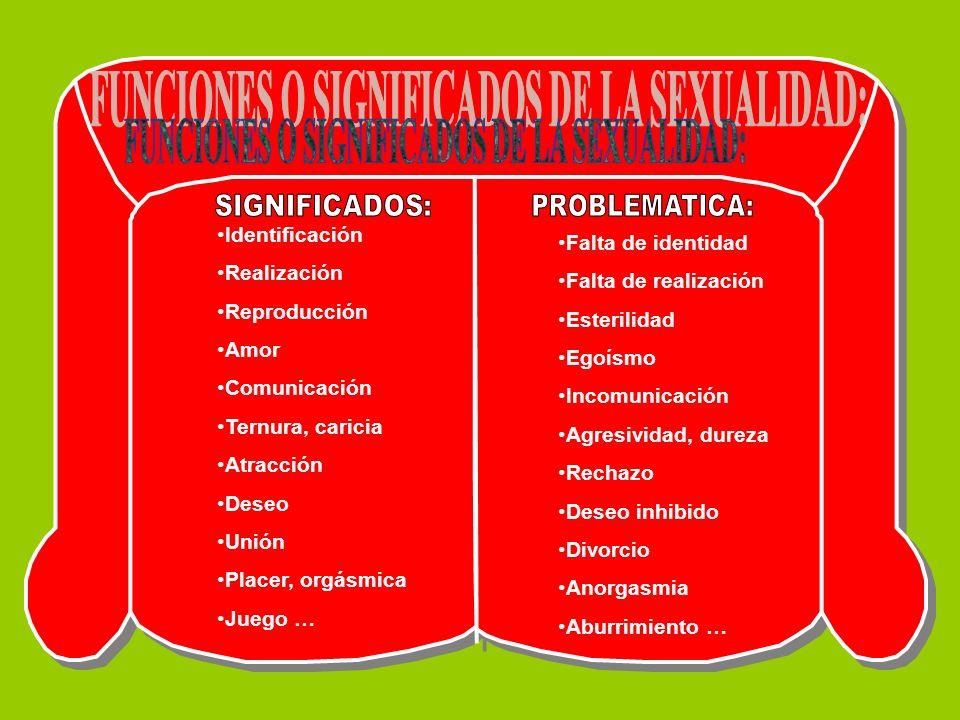FUNCIONES O SIGNIFICADOS DE LA SEXUALIDAD: