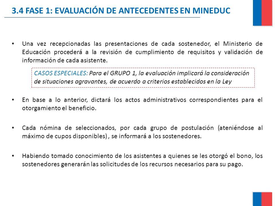 3.4 FASE 1: EVALUACIÓN DE ANTECEDENTES EN MINEDUC