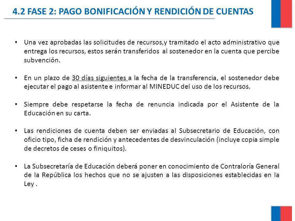 4.2 FASE 2: PAGO BONIFICACIÓN Y RENDICIÓN DE CUENTAS