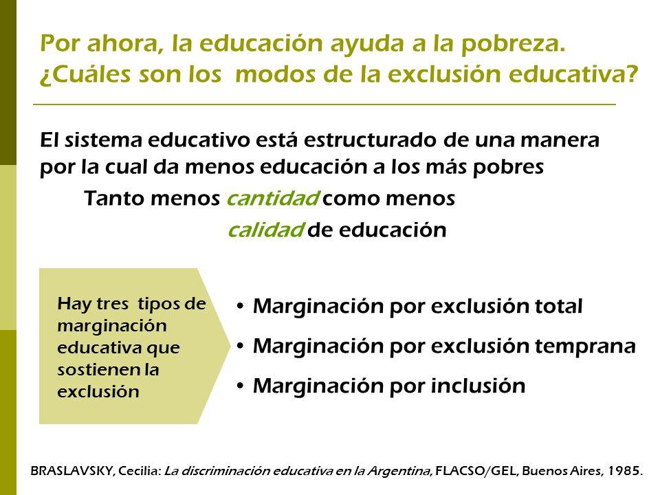 Por ahora, la educación ayuda a la pobreza