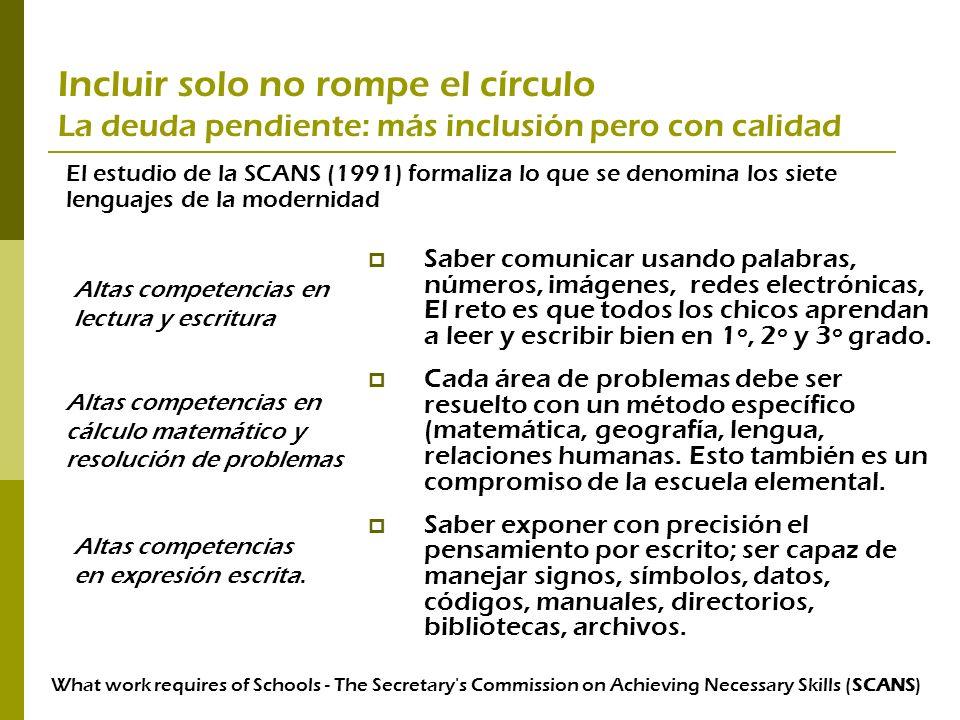 Incluir solo no rompe el círculo La deuda pendiente: más inclusión pero con calidad
