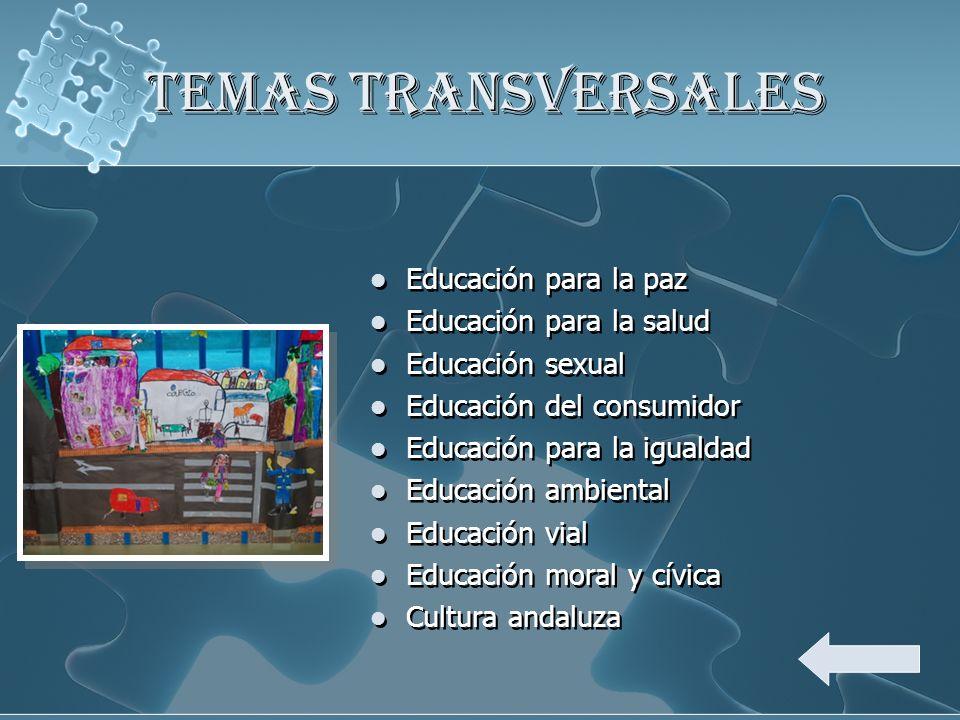 TEMAS TRANSVERSALES Educación para la paz Educación para la salud