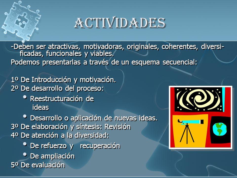 ACTIVIDADES -Deben ser atractivas, motivadoras, originales, coherentes, diversi-ficadas, funcionales y viables.
