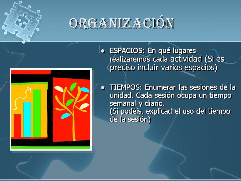ORGANIZACIÓN ESPACIOS: En qué lugares realizaremos cada actividad (Si es preciso incluir varios espacios)