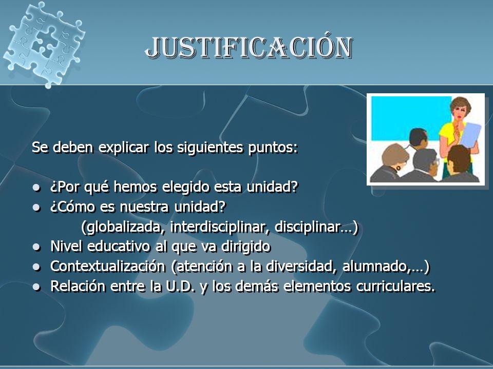 JUSTIFICACIÓN Se deben explicar los siguientes puntos: