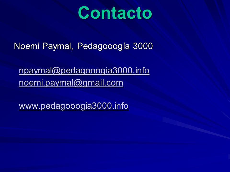 Contacto Noemi Paymal, Pedagooogía 3000 npaymal@pedagooogia3000.info