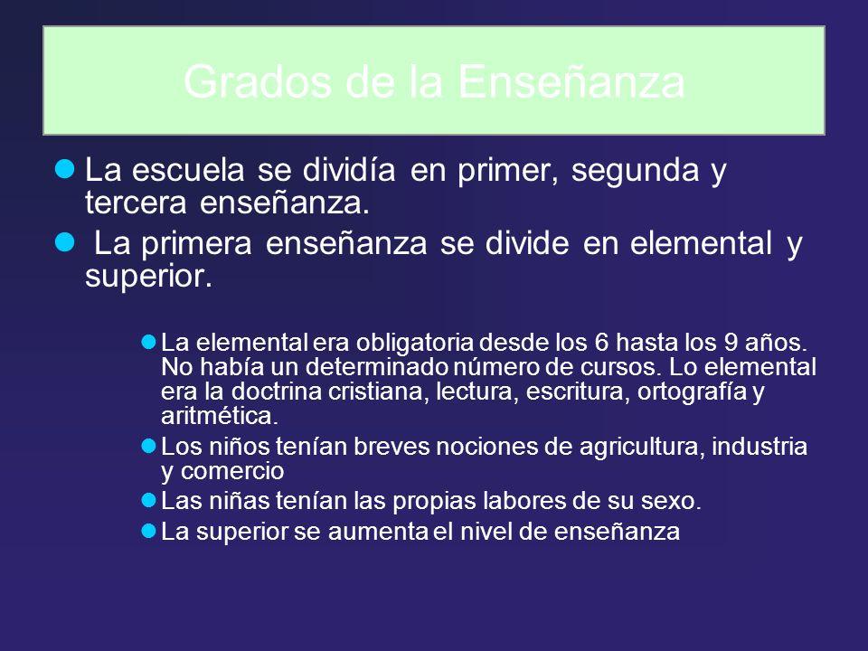 Grados de la Enseñanza La escuela se dividía en primer, segunda y tercera enseñanza. La primera enseñanza se divide en elemental y superior.