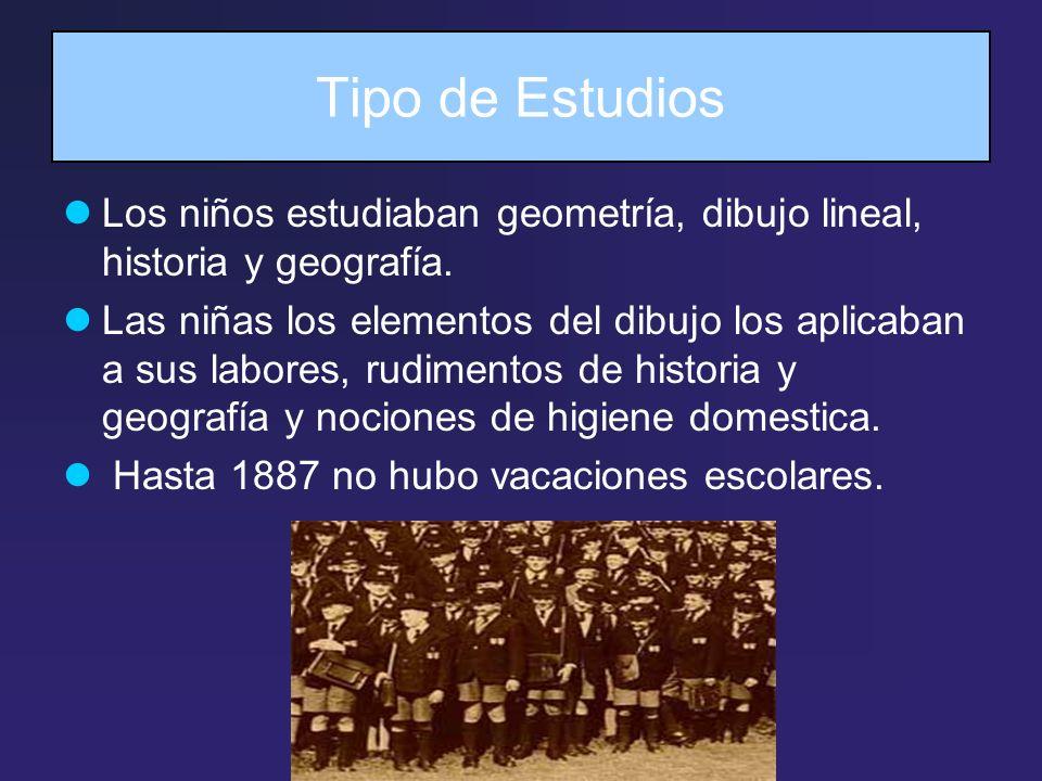Tipo de Estudios Los niños estudiaban geometría, dibujo lineal, historia y geografía.