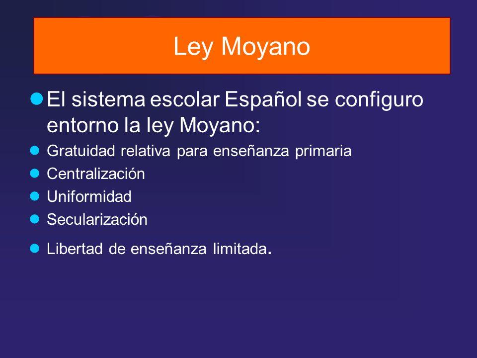 Ley Moyano El sistema escolar Español se configuro entorno la ley Moyano: Gratuidad relativa para enseñanza primaria.