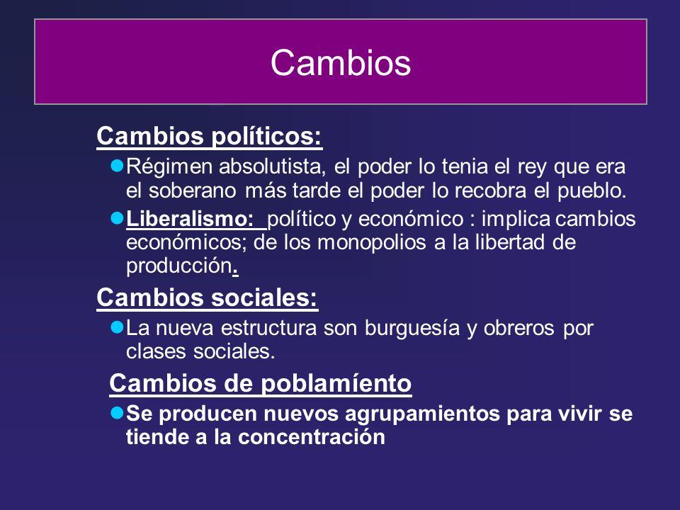 Cambios Cambios políticos: Cambios sociales: Cambios de poblamíento