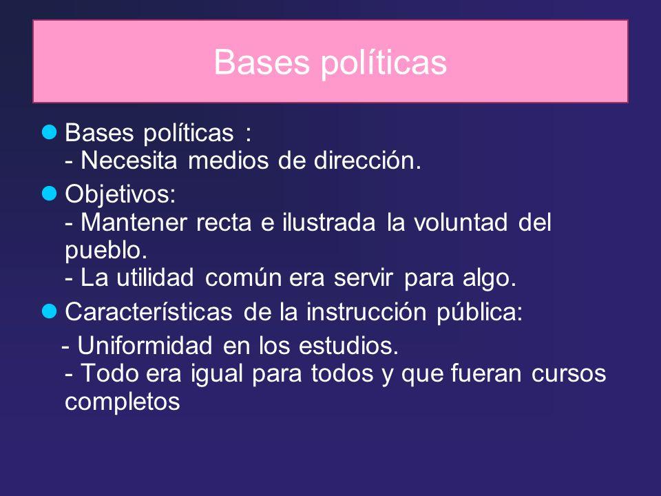 Bases políticas Bases políticas : - Necesita medios de dirección.